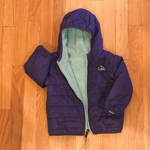 L.L. Bean Down Jacket, fleece lining. Reversible.